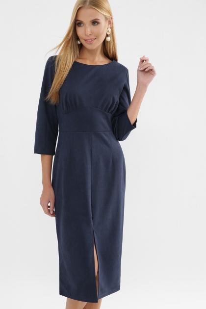 серое платье из замши. Платье Констанция 3/4. Цвет: синий купить