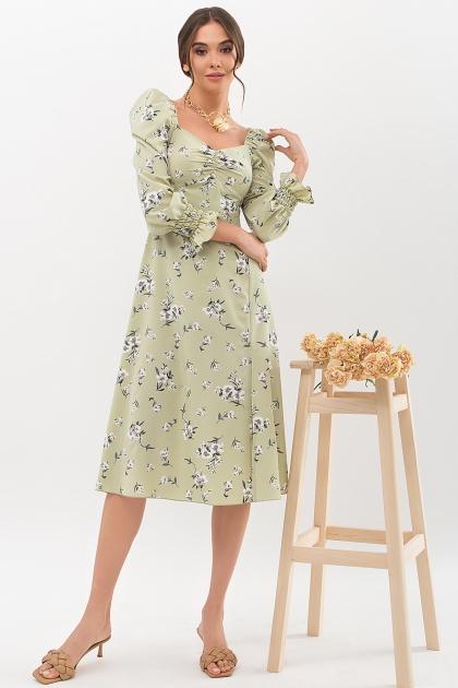 . Платье Пала д/р. Цвет: оливка-белый букет купить