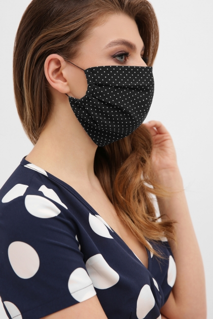 защитная черная маска. Маска №1. Цвет: черный-белый м. горох цена