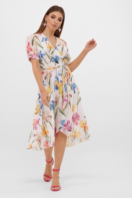 . Платье Алеста к/р. Цвет: белый-ирисы купить