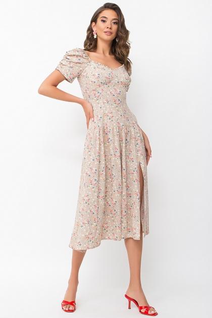 . Платье Никси к/р. Цвет: бежевый-м.букет купить
