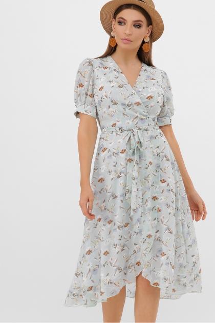 . Платье Алеста к/р. Цвет: мята-цветы купить