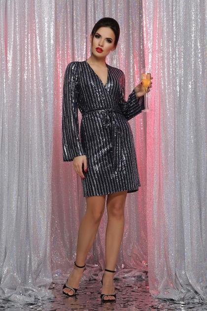 платье на новый год с пайетками. Платье Земфира д/р. Цвет: синий-серебро купить