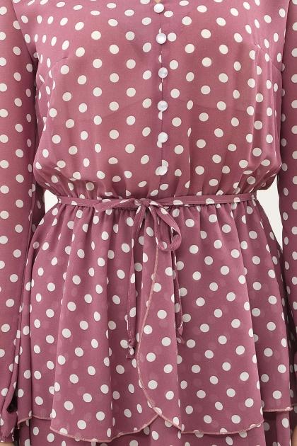 . Платье Алора д/р. Цвет: фрез-белый горох в интернет-магазине