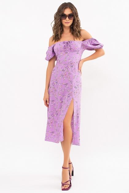 . Платье Билла к/р. Цвет: лиловый-цветы веточки цена