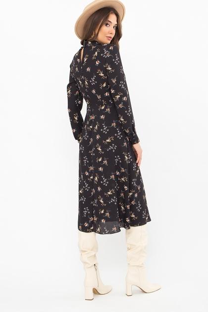. Платье Санторини д/р. Цвет: черный-м.букет цена