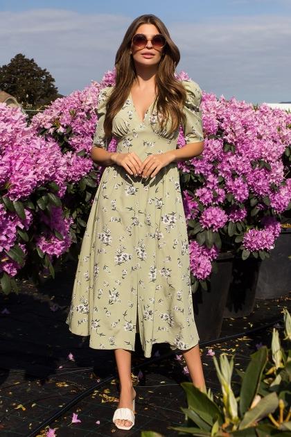 . Платье Фариза к/р. Цвет: оливка-белый букет в Украине