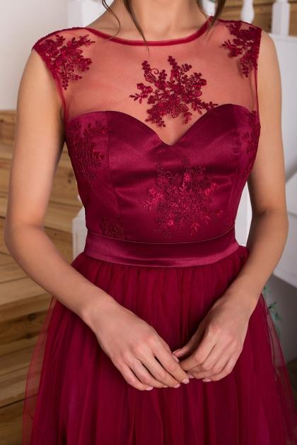 выпускное платье с фатиновой юбкой. Платье Паиса б/р. Цвет: бордо в интернет-магазине