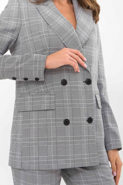 двубортный пиджак в клетку. Пиджак Элейн К д/р. Цвет: клетка черно-белая в Украине