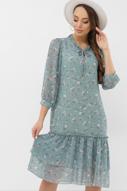 платье хаки из шифона. Платье Элисон 3/4. Цвет: бирюза-белый цветок цена