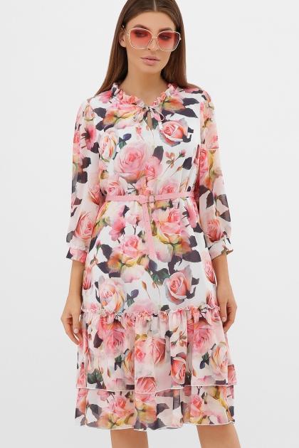 платье хаки из шифона. Платье Элисон 3/4. Цвет: белый-розы цена