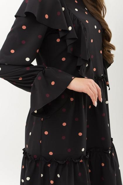 синее платье в горошек. Платье Лесса д/р. Цвет: черный-горох цветной в интернет-магазине