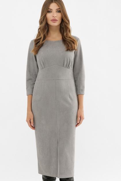 серое платье из замши. Платье Констанция 3/4. Цвет: серый купить