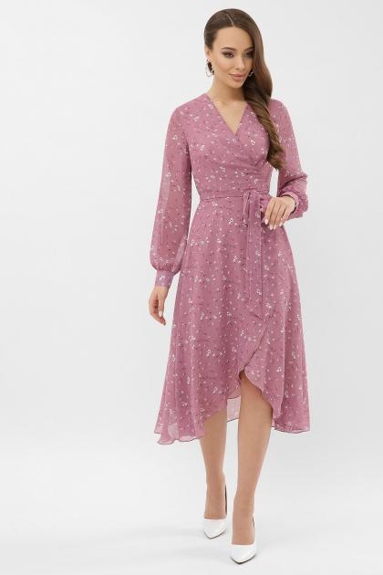 нежное платье на запах. Платье Алеста д/р. Цвет: лиловый-белый цветок цена