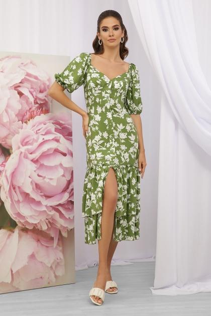 . Платье Аделаида к/р. Цвет: зеленый-белые цветы цена