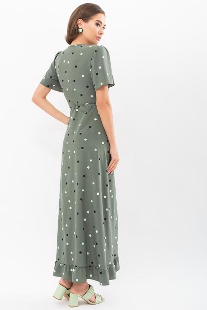 платье хаки в горошек. Платье Румия к/р. Цвет: хаки-горох цветной в интернет-магазине