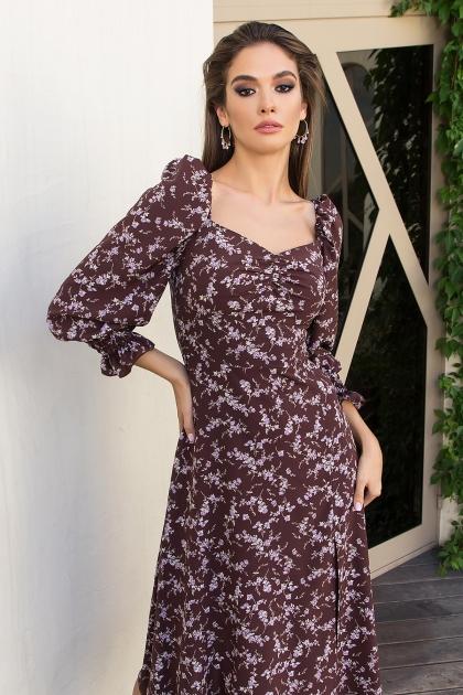 . Платье Пала д/р. Цвет: шоколад-сирен.цветок недорого