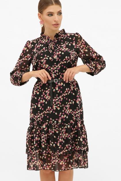платье хаки из шифона. Платье Элисон 3/4. Цвет: черный-лепестки купить