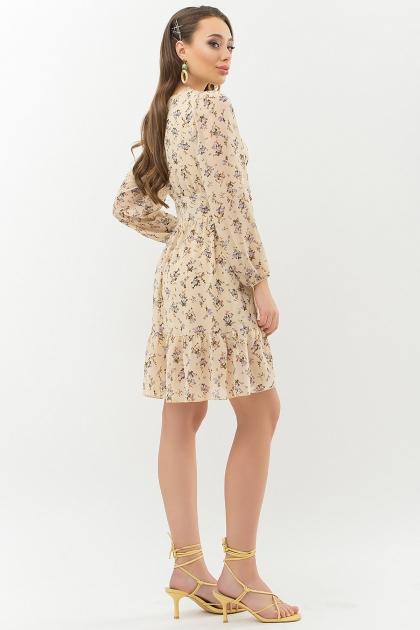 бежевое платье с цветами. Платье Бернарда д/р. Цвет: бежевый-голубой цветок купить