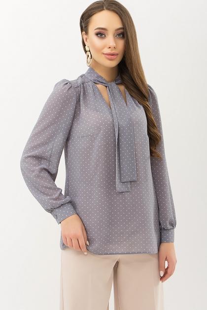 серая блузка в горошек. Блуза Аза д/р. Цвет: серый-пудра м.горох купить