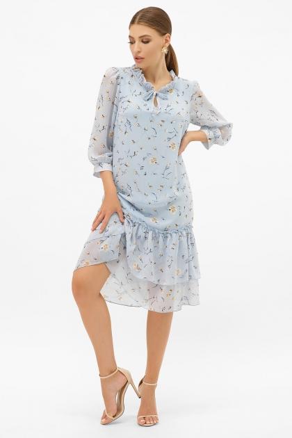 платье хаки из шифона. Платье Элисон 3/4. Цвет: голубой-цветы цена