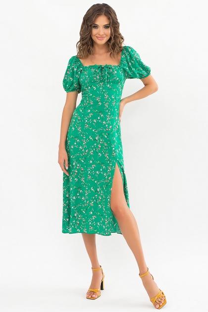 . Платье Билла к/р. Цвет: зеленый-цветы веточки цена