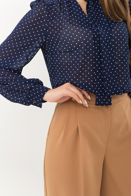 серая блузка в горошек. Блуза Аза д/р. Цвет: т.синий-белый м. горох цена