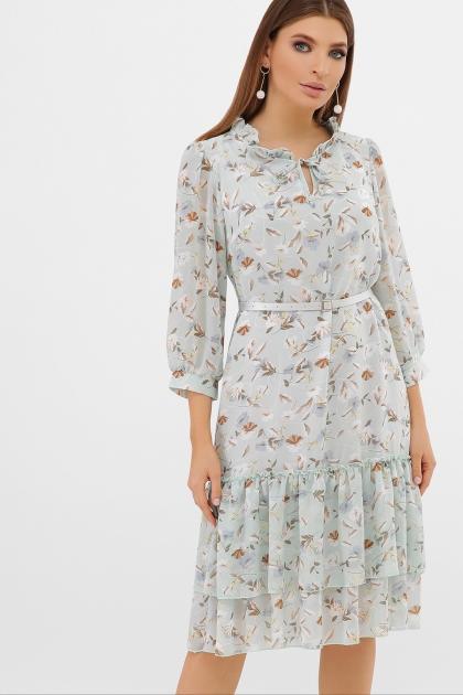 платье хаки из шифона. Платье Элисон 3/4. Цвет: мята-цветы цена