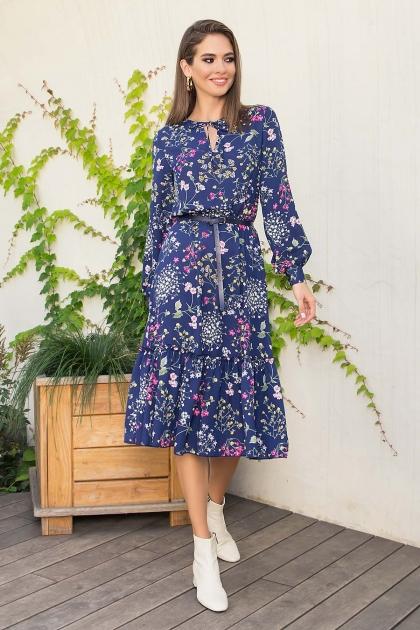 . Платье Агафия-1 д/р. Цвет: синий-полевые цветы купить