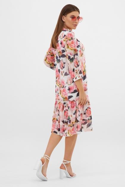 платье хаки из шифона. Платье Элисон 3/4. Цвет: белый-розы в интернет-магазине