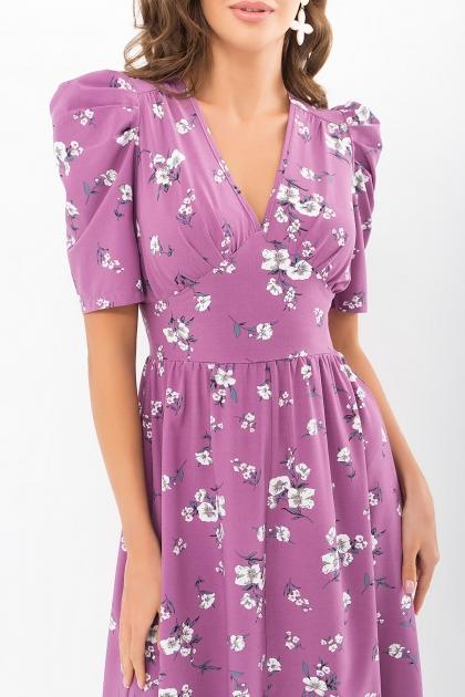 . Платье Фариза к/р. Цвет: фрез-белый букет в интернет-магазине