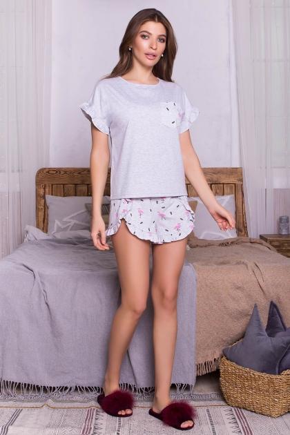 короткая пижама с шортами. Пижама Лиэль. Цвет: серый-фламинго купить