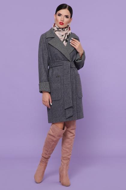 демисезонное песочное пальто. Пальто П-347-М-90. Цвет: 12-т.серый купить