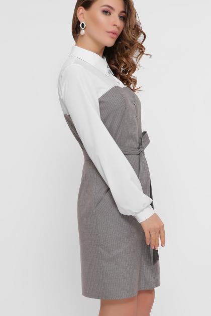 офисное серое платье. Платье Линси д/р. Цвет: серый-роз.полос-бел.отд в интернет-магазине
