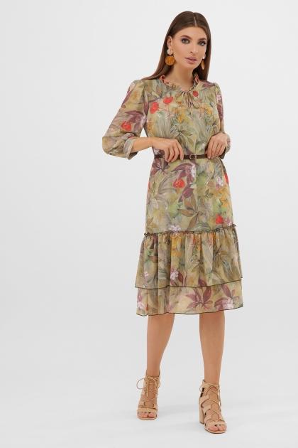 платье хаки из шифона. Платье Элисон 3/4. Цвет: оливка-цветы-листья цена