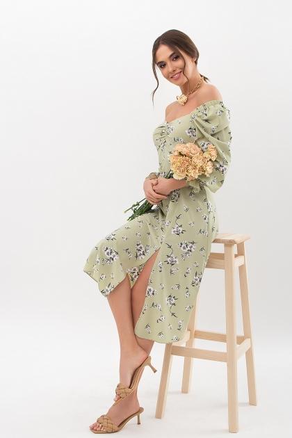 . Платье Пала д/р. Цвет: оливка-белый букет цена