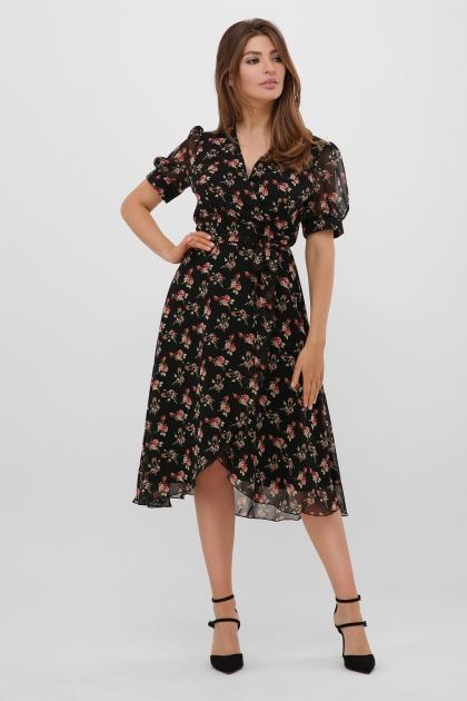 . Платье Алеста к/р. Цвет: черный-роза красная в интернет-магазине