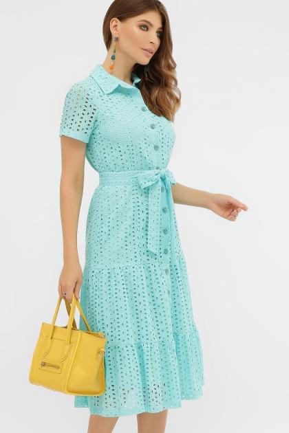 персиковое платье из хлопка. Платье Уника 1 к/р. Цвет: бирюза цена