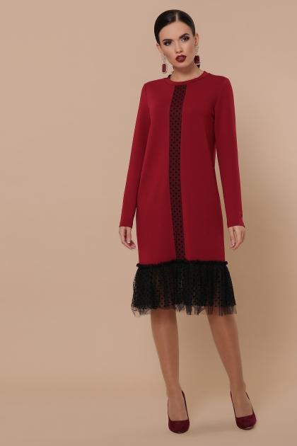 бордовое платье с фатином. Платье Касия д/р. Цвет: бордо купить