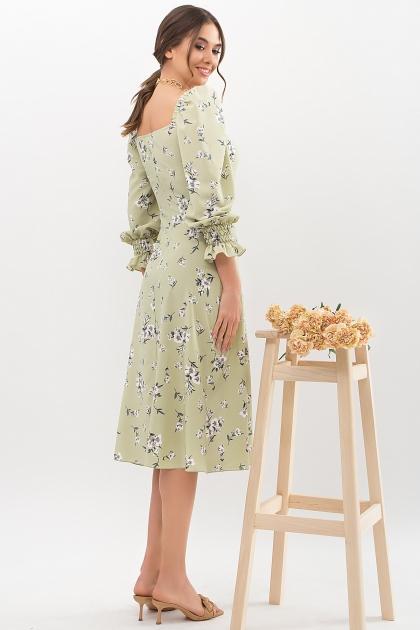. Платье Пала д/р. Цвет: оливка-белый букет в Украине