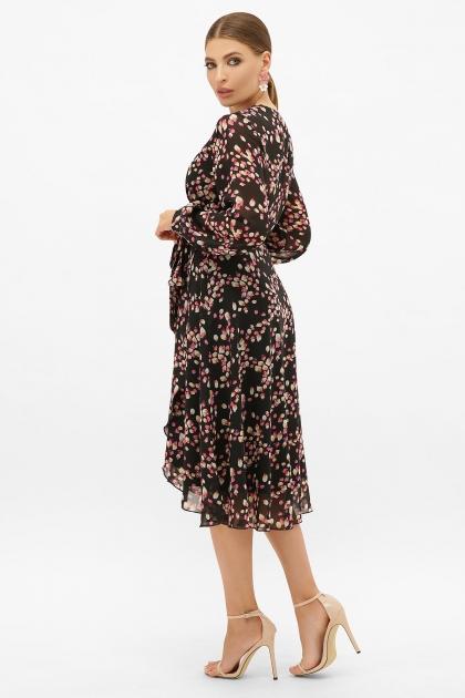 . Платье Алеста д/р. Цвет: черный-лепестки в интернет-магазине