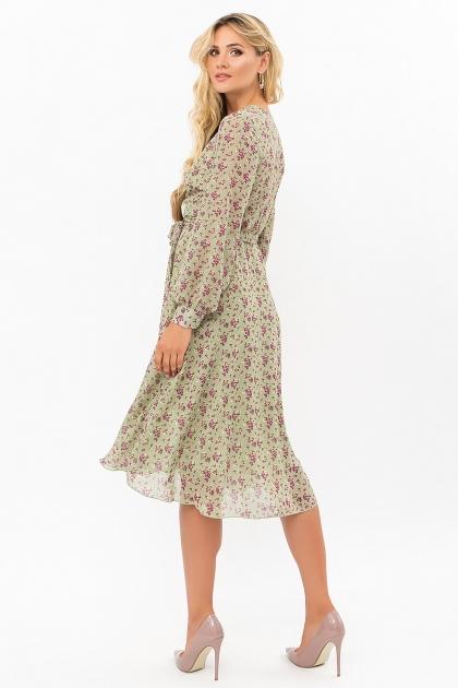 нежное платье на запах. Платье Алеста д/р. Цвет: хаки- сиреневые цветы в интернет-магазине