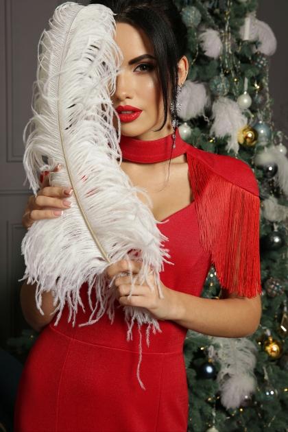 платье годе с бахромой. Платье Альфия б/р. Цвет: красный недорого