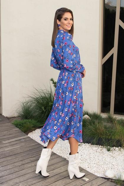 платье синего цвета с ромашками. Платье Изольда-1 д/р. Цвет: джинс-цветочки в интернет-магазине