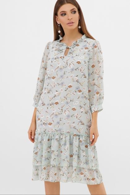 платье хаки из шифона. Платье Элисон 3/4. Цвет: мята-цветы купить