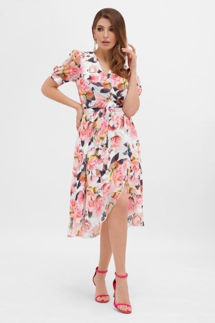 . Платье Алеста к/р. Цвет: белый-розы в интернет-магазине