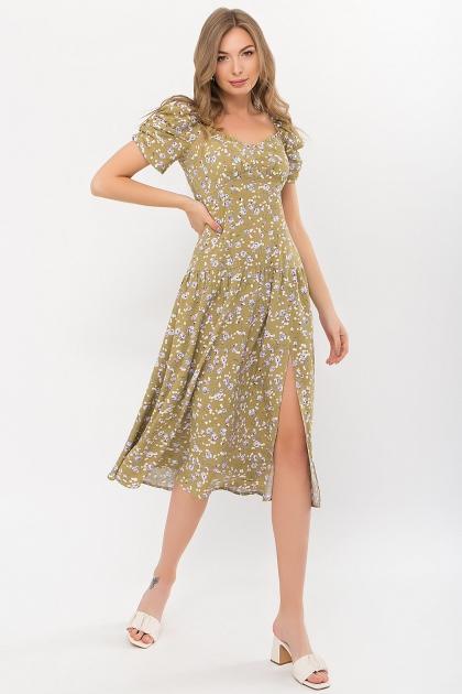 . Платье Никси к/р. Цвет: оливковый-сиреньРозы купить