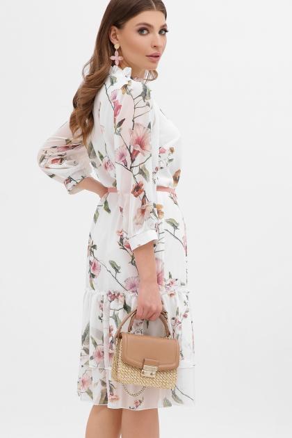 платье хаки из шифона. Платье Элисон 3/4. Цвет: белый-цветы б. цена