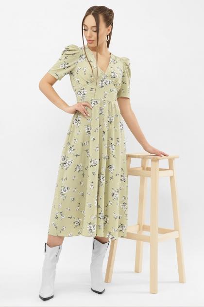 . Платье Фариза к/р. Цвет: оливка-белый букет купить