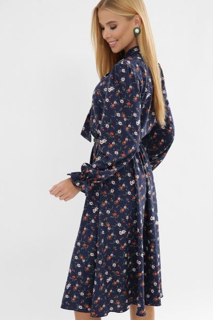 . Платье Дельфия д/р. Цвет: синий-оранж.м.цветок в интернет-магазине
